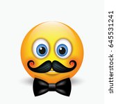 cute emoticon with a mustache... | Shutterstock .eps vector #645531241