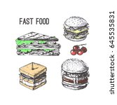 fast food. types of snacks.... | Shutterstock .eps vector #645535831