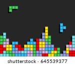game tetris pixel bricks.... | Shutterstock .eps vector #645539377