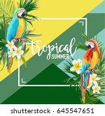 tropical flowers and parrot... | Shutterstock .eps vector #645547651