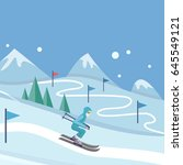 skiing banner. skier on snowy... | Shutterstock . vector #645549121