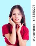 portrait of an attractive... | Shutterstock . vector #645550279