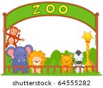 illustration of zoo animals... | Shutterstock .eps vector #64555282