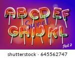 sweet candy lollipop alphabet... | Shutterstock .eps vector #645562747