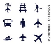 passenger icons set. set of 9... | Shutterstock .eps vector #645564001