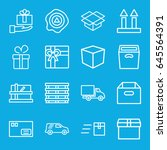 parcel icons set. set of 16... | Shutterstock .eps vector #645564391