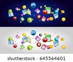 lottery bingo tickets balls... | Shutterstock .eps vector #645564601