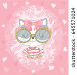 cat girl vector design.template ... | Shutterstock .eps vector #645571024