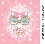 cat girl vector design.template ...   Shutterstock .eps vector #645571024