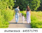 family  parenthood and people... | Shutterstock . vector #645571795