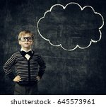 kid in glasses think bubble... | Shutterstock . vector #645573961