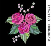 embroidery roses and leaves... | Shutterstock .eps vector #645574135