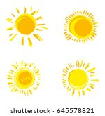 vector set of hand drawn solar...   Shutterstock .eps vector #645578821