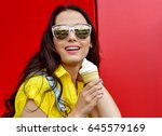 beautiful  funny young hipster... | Shutterstock . vector #645579169