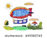 kids drawing kindergarten... | Shutterstock . vector #645583765