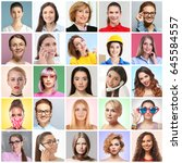 collage of beautiful women as... | Shutterstock . vector #645584557