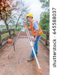 land surveyor looking through...   Shutterstock . vector #645588037