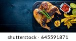 grilled chicken baked with... | Shutterstock . vector #645591871