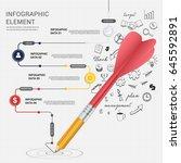 pencil dart writing line arrow... | Shutterstock .eps vector #645592891