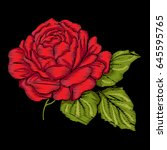embroidery red rose with green... | Shutterstock .eps vector #645595765