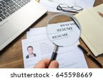 the employer looks at the... | Shutterstock . vector #645598669