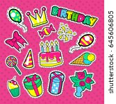 happy birthday party stickers ... | Shutterstock .eps vector #645606805