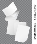 flying blank papers isolated on ... | Shutterstock .eps vector #645607249