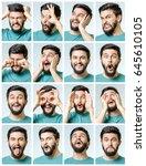 set of handsome emotional man... | Shutterstock . vector #645610105