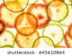 bright lime and orange slices....   Shutterstock . vector #645610864