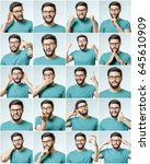 set of young man's portraits... | Shutterstock . vector #645610909