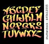 hand lettering graffiti alphabet | Shutterstock .eps vector #645613555