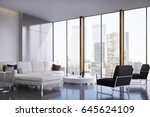 living room interior with two... | Shutterstock . vector #645624109