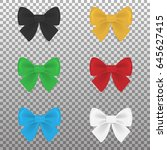 satin colorful bows set... | Shutterstock .eps vector #645627415