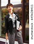 happy young fashion business... | Shutterstock . vector #645628411