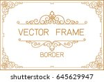gold photo frame with corner... | Shutterstock .eps vector #645629947