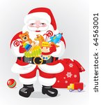 Santa Claus with gifts -  toys - stock vector