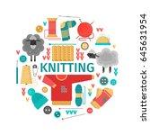 vector illustration. knitting.... | Shutterstock .eps vector #645631954