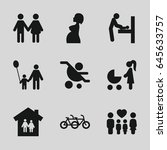 mother icons set. set of 9... | Shutterstock .eps vector #645633757