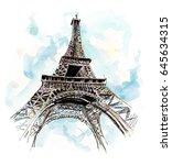 eiffel tower. hand drawing... | Shutterstock . vector #645634315
