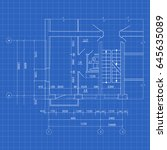 modern house blueprint | Shutterstock .eps vector #645635089