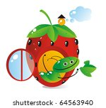 Small house-strawberry for a cheerful caterpillar - stock vector