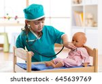 child girl playing with dolls... | Shutterstock . vector #645639769