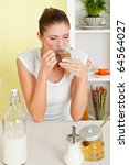 beauty  young girl drinking... | Shutterstock . vector #64564027