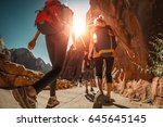 hikers with backpacks walk on... | Shutterstock . vector #645645145