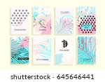 universal abstract posters set. ... | Shutterstock .eps vector #645646441