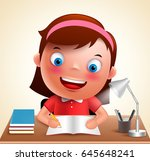 girl kid vector character happy ... | Shutterstock .eps vector #645648241