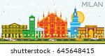 milan skyline with color... | Shutterstock .eps vector #645648415
