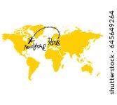 yellow map of world. aircraft.... | Shutterstock .eps vector #645649264