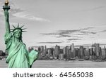 photo new york city skyline statue liberty tourism concept - stock photo
