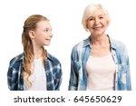 portrait of happy grandmother... | Shutterstock . vector #645650629